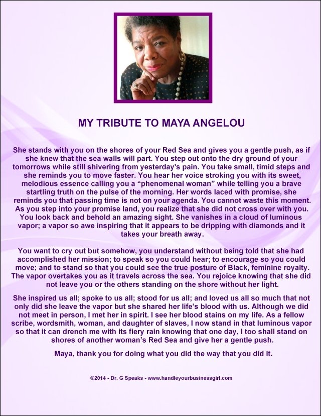My Tribute to Dr. Maya Angelou